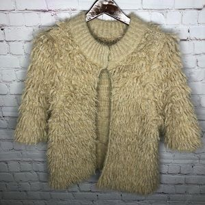 Anthropologie Knitted & Knotted Wool Shag Cardigan